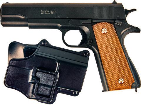 Страйкбольный пистолет Galaxy G.13+ Colt 1911 с кобурой металлический, пружинный