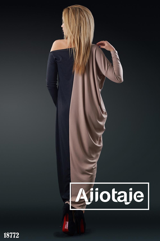 Платье в пол с ассиметричным вырезом