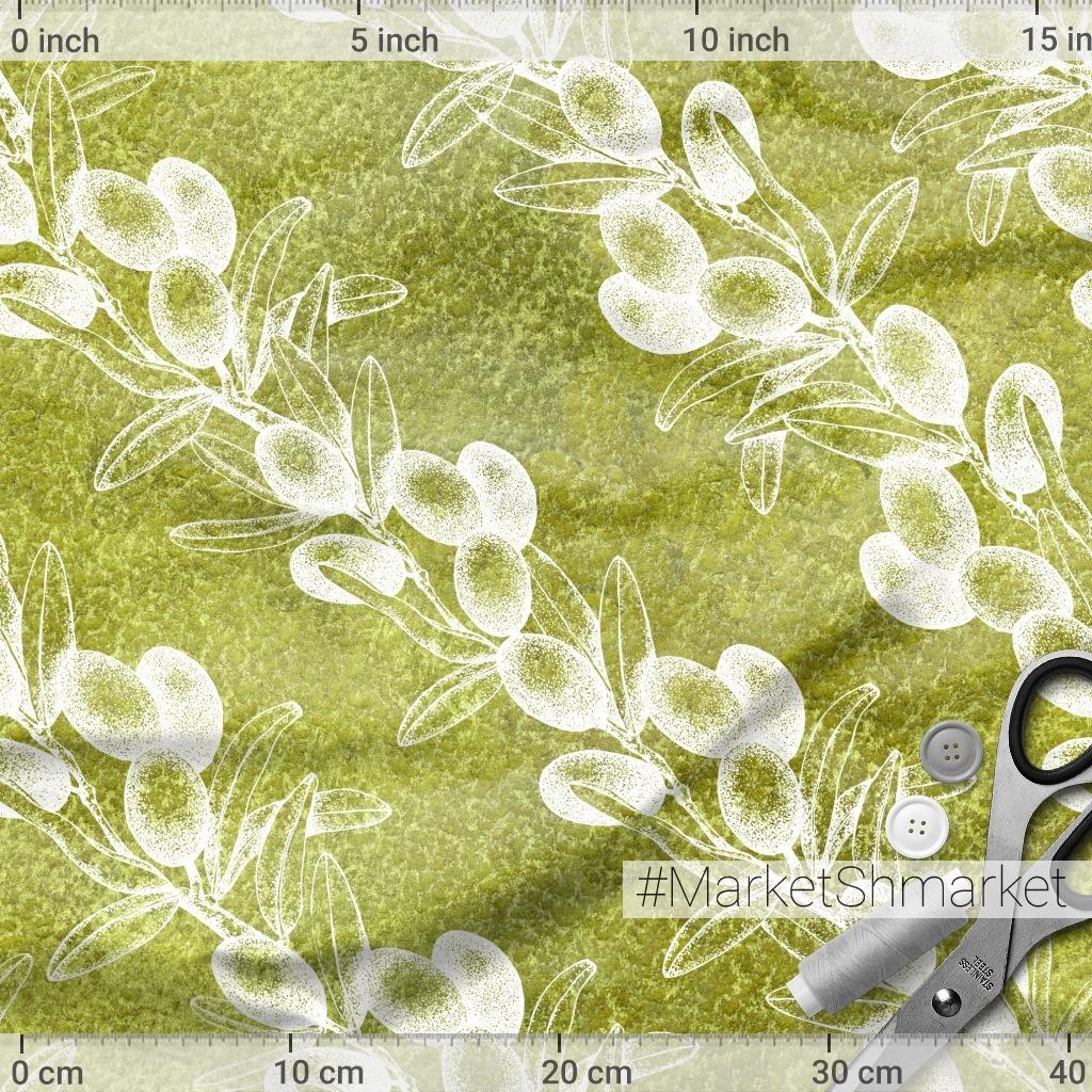 Оливковая ветвь на акварельном фактурном фоне