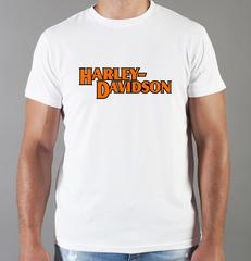 Футболка с принтом Harley-Davidson (Харли-Дэвидсон) белая 0042