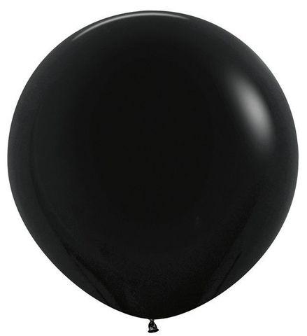 №2 Чёрный  Гелиевый шар пастель 60см с обработкой