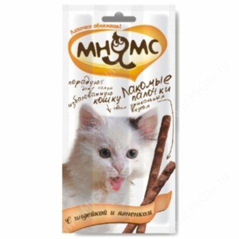 Лакомство Мнямс палочки для кошек с индейкой и ягненком