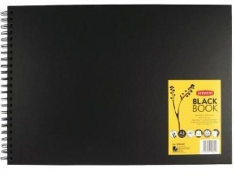 Альбом для зарисовок BLACK BOOK 200г/кв.м 297х420мм, 40л, пейзаж, спираль, черный
