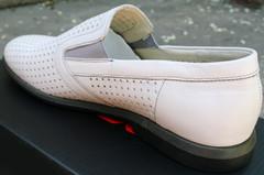 Мужские туфли лоферы с перфорацией Ikoc White.