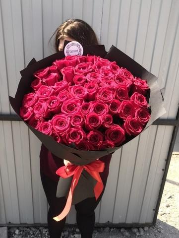 51 красная роза 55 см