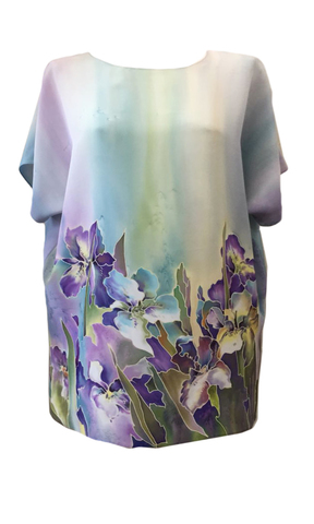 Шелковая блузка Летние Ирисы П-182