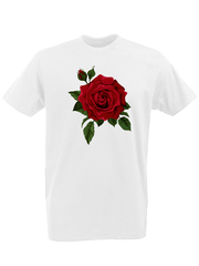 Футболка с принтом Цветы (Розы) белая 0001