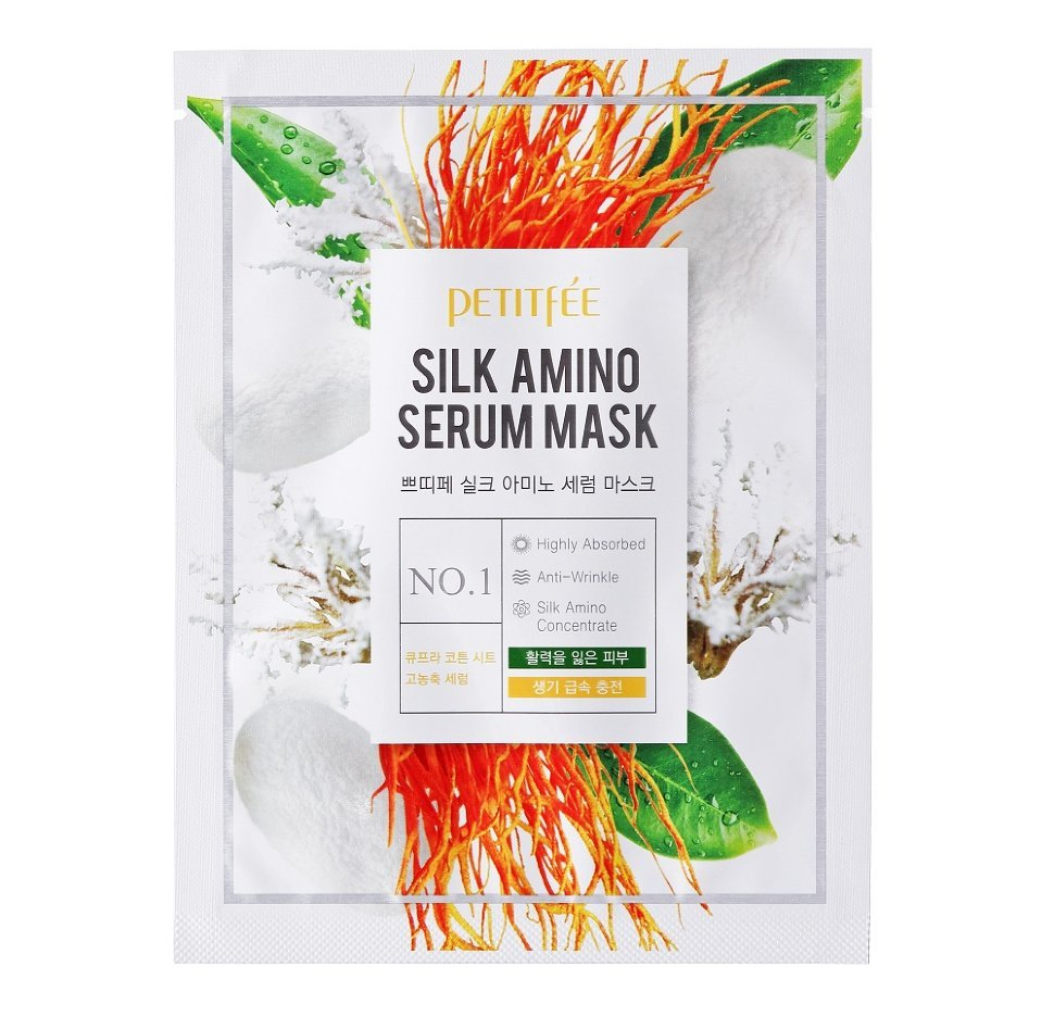 Маска Для Лица С Протеинами Шелка (Petitfee Silk Amino Serum Mask)
