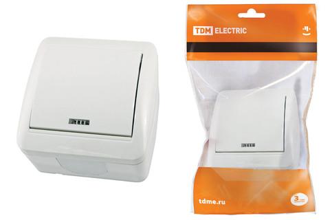 Выключатель 1-кл. открытой установки с подсветкой IP44 10А белый