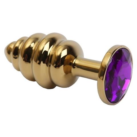 Золотая анальная пробка рельефная с фиолетовым кристаллом (малая)