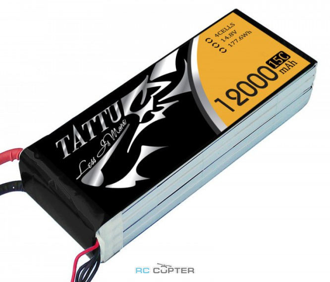 АКБ Gens Ace TATTU 12000mAh 14.8V 15C 4S1P Lipo Battery Pack