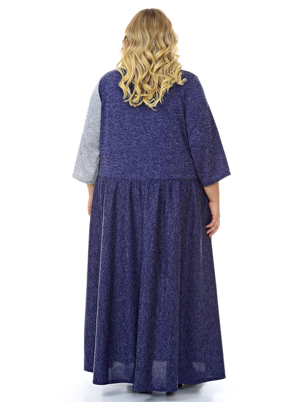 Комбинированное платье джерси меланж
