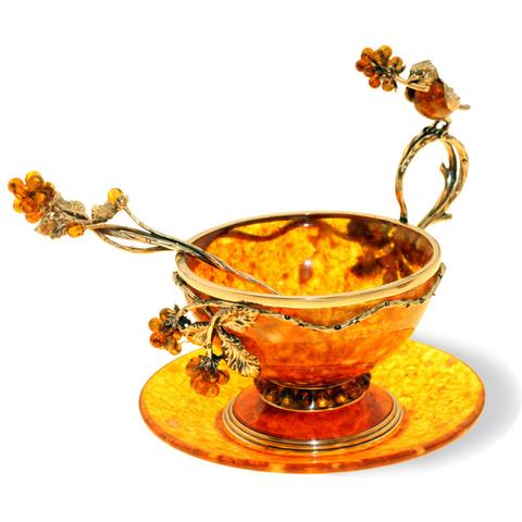Чайная чашка из янтаря с ложечкой «Малиновка»
