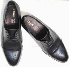 Дерби туфли мужские броги Ikoc 2249-1 Black Leather.
