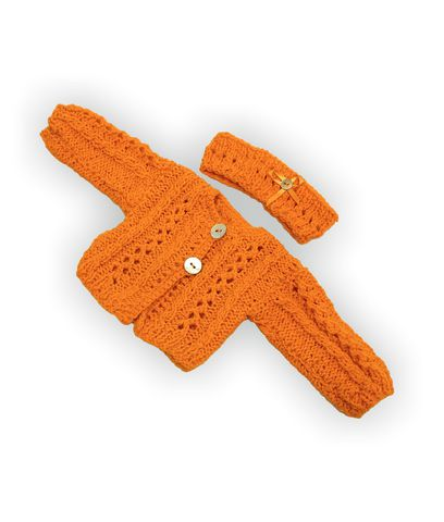 Вязаная кофта - Оранжевый. Одежда для кукол, пупсов и мягких игрушек.