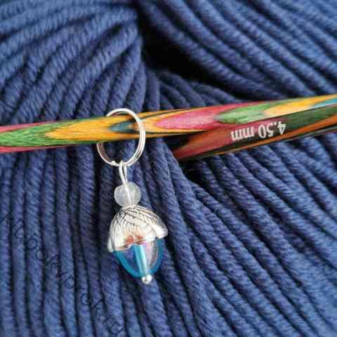 Маркер для вязания спицами, стекло, ручная работа 30мм*10мм, 1шт