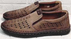 Летние мужские мокасины туфли в спортивном стиле бизнес кэжуал для мужчин Luciano Bellini 91737-S-307 Coffee.
