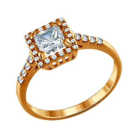 93010383 - Кольцо из золочёного серебра с фианитами