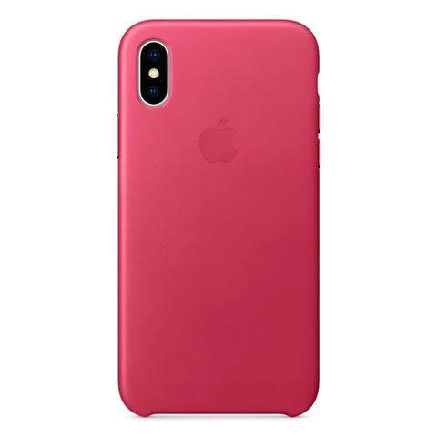 Чехол iPhone X/XS Leather Case /pink fuchsia/