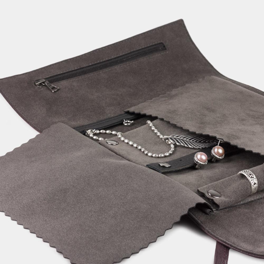 Чехол для ювелирных украшений Plier Bisness из натуральной кожи теленка, бордового цвета