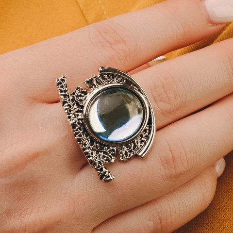 Кольцо в античном стиле с кристальным кабошоном (голубой)