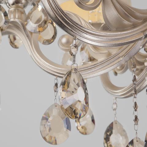 Классическая люстра с хрусталем 10098/8 серебро/тонированный хрусталь Strotskis