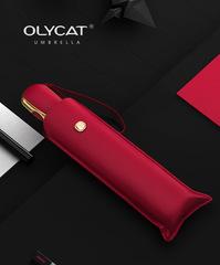 Ультратонкий элитный зонт, 6 спиц  (OLYCAT) алый с золотом