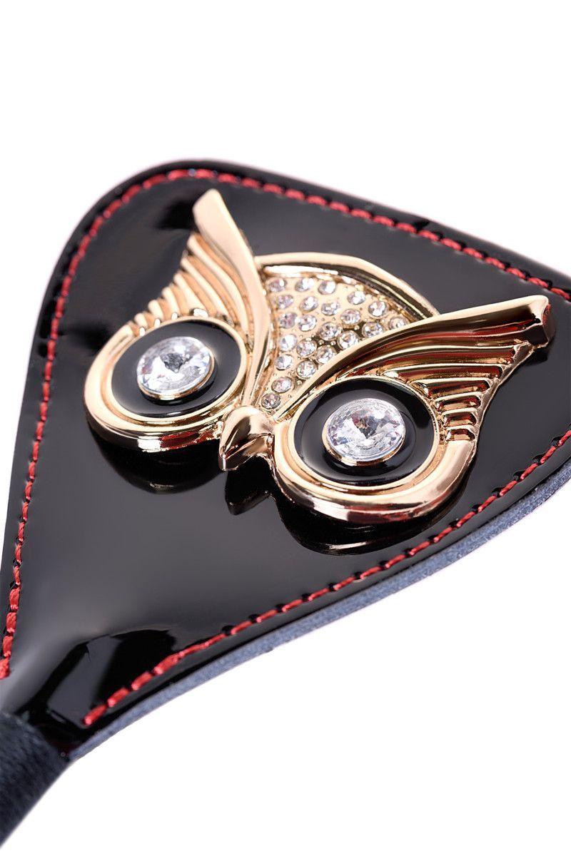 Чёрный стек с совой на кожаном наконечнике - 24 см.