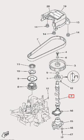 Вал распределительный для лодочного мотора F9,9 Sea-PRO (8-2)