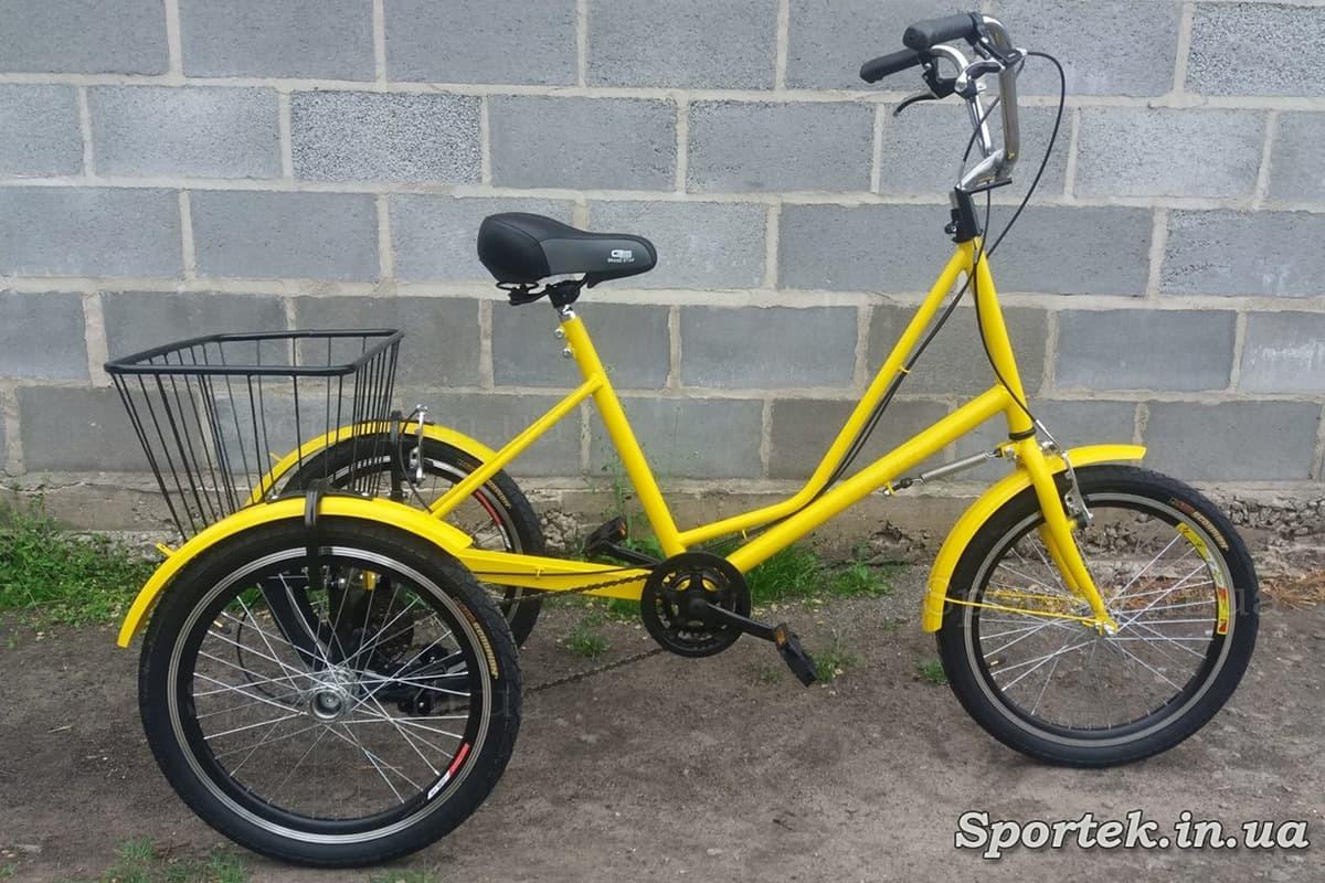 Трехколесный велосипед 'Городской с корзинкой 20' с передней корзинкой (желтый)