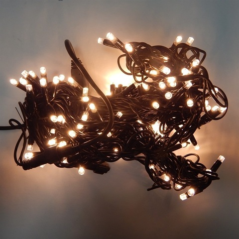 Гирлянда на дерево черный провод теплый цвет 14м