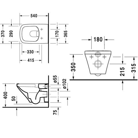 Унитаз подвесной Duravit Durastyle Rimless (без смывного обода) 2538090000 схема