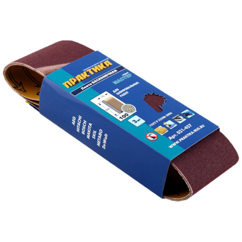 Лента шлифовальная ПРАКТИКА   75 х 533 мм P100 (3шт.) картонный подвес (031-457)