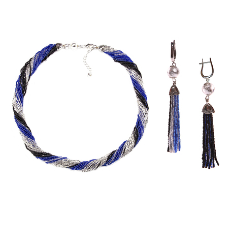 Комплект украшений черно-синий (длинные серьги из бисера, бусы из бисера 24 нити)
