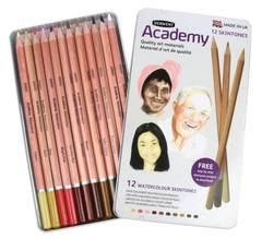 Набор акварельных карандашей ACADEMY 12цв. оттенки кожи, металлическая уп-ка