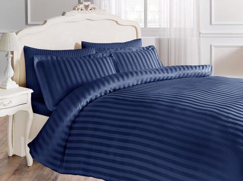 Постельное белье NEW JAQUARD синий жаккард  deluxe TIVOLYO HOME Турция