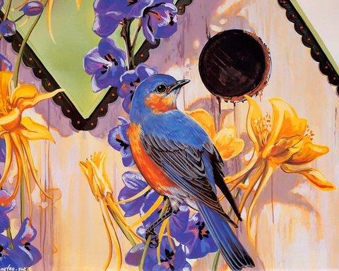 Алмазная Мозаика 5D 40x50 Птичка и цветы