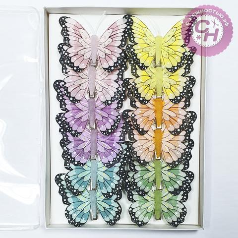 Бабочки перьевые Нежные с темным краем 8 см, 1 шт.