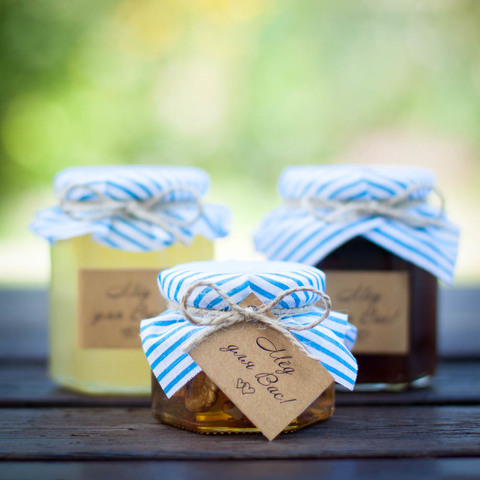 Набор бонбоньерок с медом на свадьбу, 250 грамм+140 грамм+35 грамм