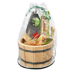 Подарочный Банный набор  (ушат, щётка с пемзой, мочало, запарка, часы песочные, шапка)