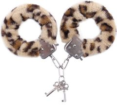 Наручники с леопардовым принтом на опушке -