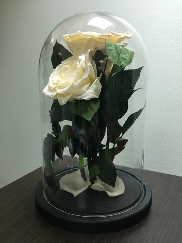 Вечная роза в стеклянной колбе куст кремовая. Букет.