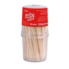 Зубочистки деревянные Aster Domolux 190 штук в пластиковой упаковке