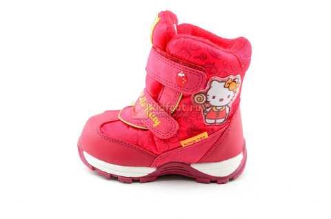 Зимние сапоги Хелло Китти (Hello Kitty) на липучках с мембраной для девочек, цвет красный. Изображение 4 из 14.