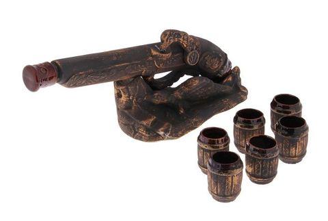 Штоф с рюмками «Мушкет», медь, 8 предметов, 0,5 л