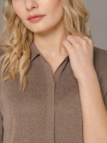 Женское платье коричневого цвета с коротким рукавом - фото 3