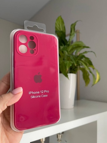 iPhone 12 (6.1) Silicone Case Full Camera /rose red/