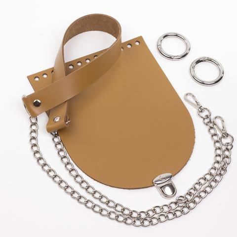 """Комплект для сумочки Орео """"Мёд"""". Ручка с цепочкой и замок """"Круг микро"""""""