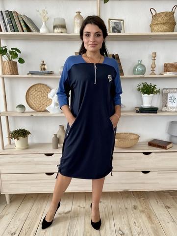 Аманда. Повседневное комбинированное платье плюс сайз. Синий