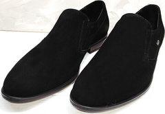 Модельные туфли черные замшевые мужские Ikoc 3410-7 Black Suede.
